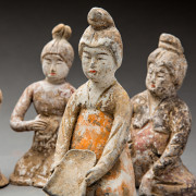 Set of Nine Tang Seated Female Entertainers