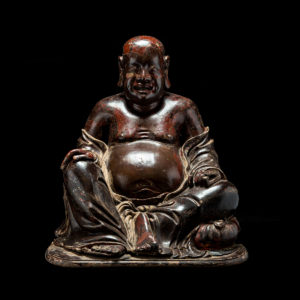 Chinese Ming Wooden Sculpture of the Laughing Buddha