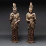 Pair of Lacquered Wooden Sculptures of Bodhisattvas