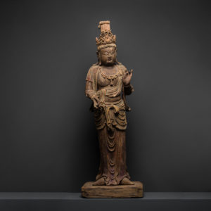 Wooden Sculpture of a standing Guanyin