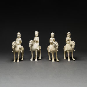 Set of Four Sui Crème-Glazed Horses and Riders5