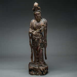 Ming Dynasty Lacquered Wood Sculpture of Guanyin