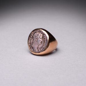 Gold Ring Featuring a Silver Denarius of Emperor Hadrian5