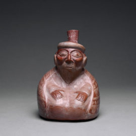 Moche Stirrup Vessel Depicting an Elderly Seated Male