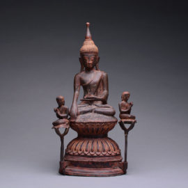 Shan Bronze Sculpture of Buddha Seated on a Double Lotus Throne with Two Disciples
