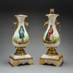 Pair of orientalist theme ormolu lamps