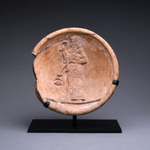 Assyrian Terracotta Dish Depicting a Standing Figure