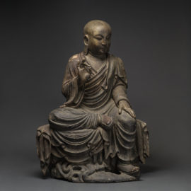 Wooden Sculpture of a Buddhist Disciple or a Luohan