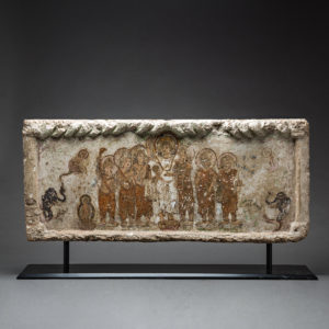 Gandharan Painted Stone Lintel Depicting the Birth of the Buddha