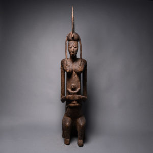 Bambara Wooden Guandousou Sculpture of a Mother and Child 1