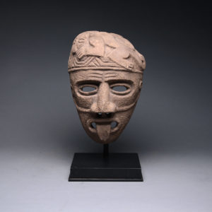 Basalt Funerary Mask with a Protruding Tongue 1