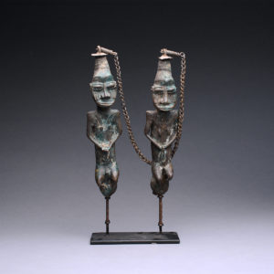 Yoruba Linked Pair of Brass Edan Sculptures 1