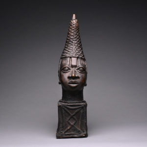 Benin Style Bronze Head of a Mother Queen 1