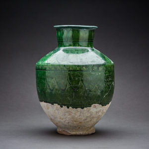 Incised Green Glazed Terracotta Vase 1