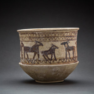 Luristan Cylindrical Pottery Bowl Painted with a Frieze of Animals 1