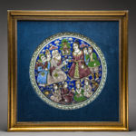 Secular Qajar period scene on circular glazed ceramic 1