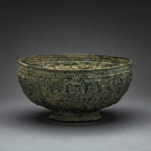 Seljuk Repoussé High-Tin Bronze Footed Bowl 1