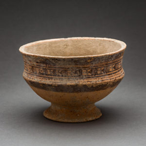 Slip-Painted Terracotta Footed Bowl 1