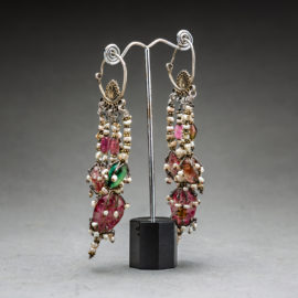 Islamic Pendant Earrings with Precious Stones and Cultivated Pearls 1