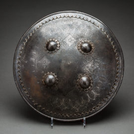 Ottoman Period Shield with Engravings and Four Bosses 1