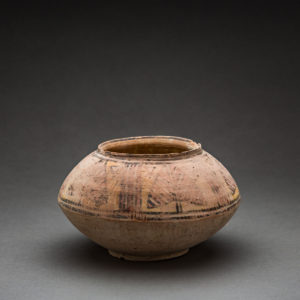 Painted Terracotta Vessel with Pipal Leaf Design 1