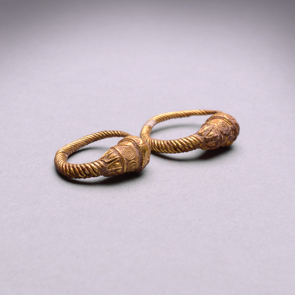 Hellenistic Gold Earrings Adorned with Lion Heads - Barakat