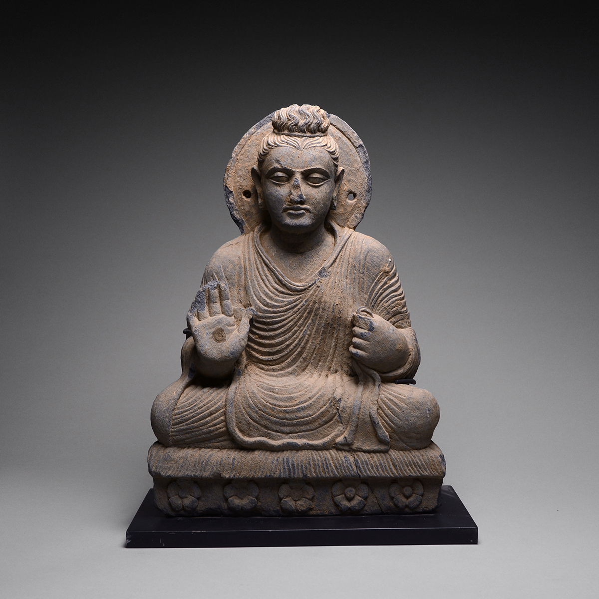 Gandhara Schist Sculpture Of The Seated Buddha Barakat Gallery Store